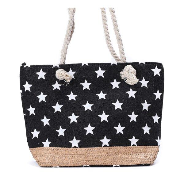 2f63cb9d161cb Plażowa torba z gwiazdkami w kolorze czarnym - Torebki