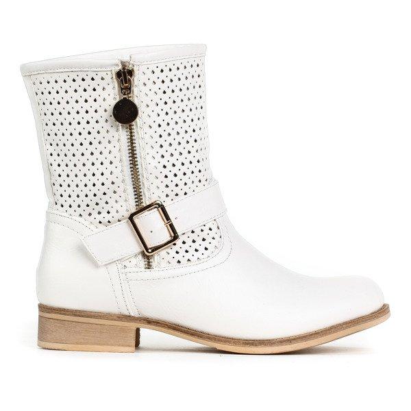 5ac04bf64145d Ażurowe, białe botki - Obuwie - | Royalfashion.pl - sklep z butami ...