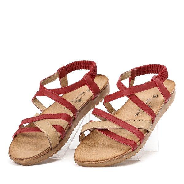 Czerwono beżowe sandały z gumką Rabiya Obuwie