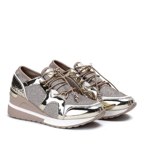 9558df3e Beżowo - złote sportowe buty z metalicznym wykończeniem na niskiej ...