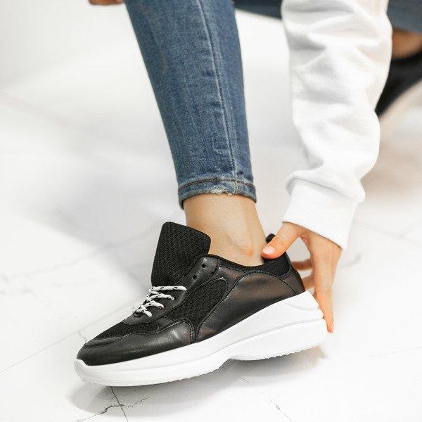 512afb3b Czarne buty sportowe na grubej podeszwie Hailey - Obuwie Kliknij, aby  powiększyć ...