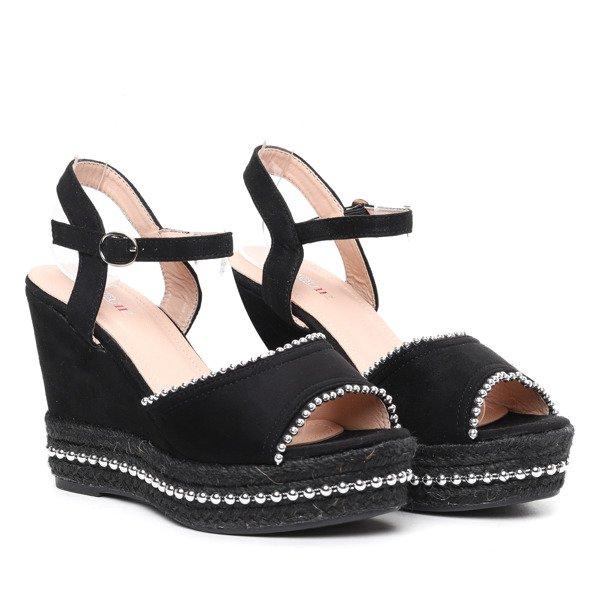 5e8ea6ea Czarne sandały na koturnie Abigalia- Obuwie Kliknij, aby powiększyć ...