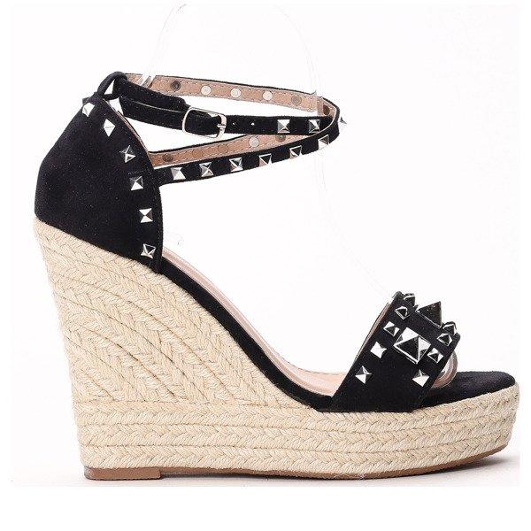 ec0791bd Czarne sandały na koturnie Aadhya - Obuwie Kliknij, aby powiększyć ...