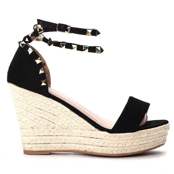 725e0480 Czarne sandałki na koturnie Kiss Touch - Obuwie Kliknij, aby powiększyć ...
