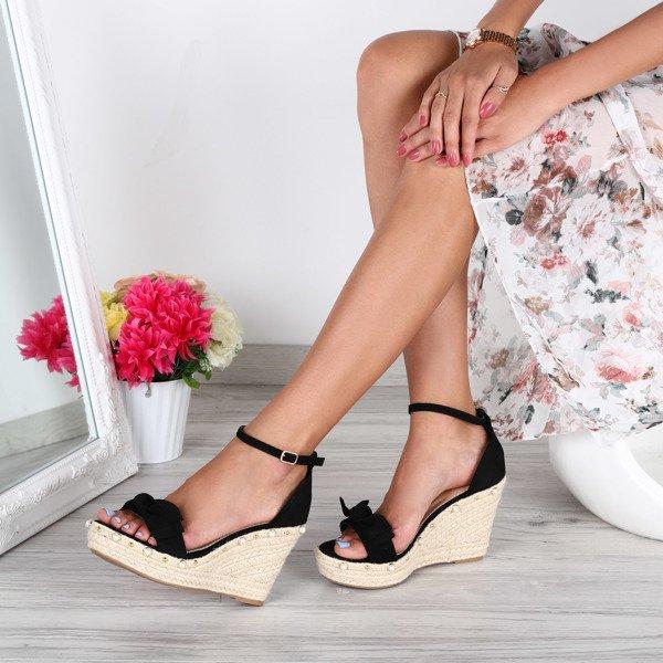 b35bd4e8 Czarne sandałki na koturnie- Obuwie - Czarny | Royalfashion.pl ...