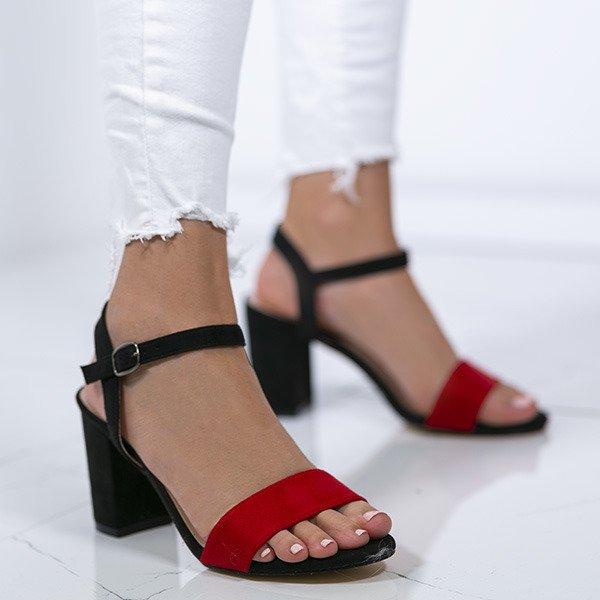 371016be Czarne sandały na słupku z czerwonym paseczkiem Tribanah - Obuwie Kliknij,  aby powiększyć ...