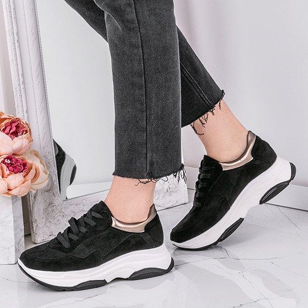 bacf8326 Niesamowicie lekkie i bardzo wygodne! Czarne sportowe buty na wyższej  podeszwie Arianna - Obuwie Kliknij, aby powiększyć ...