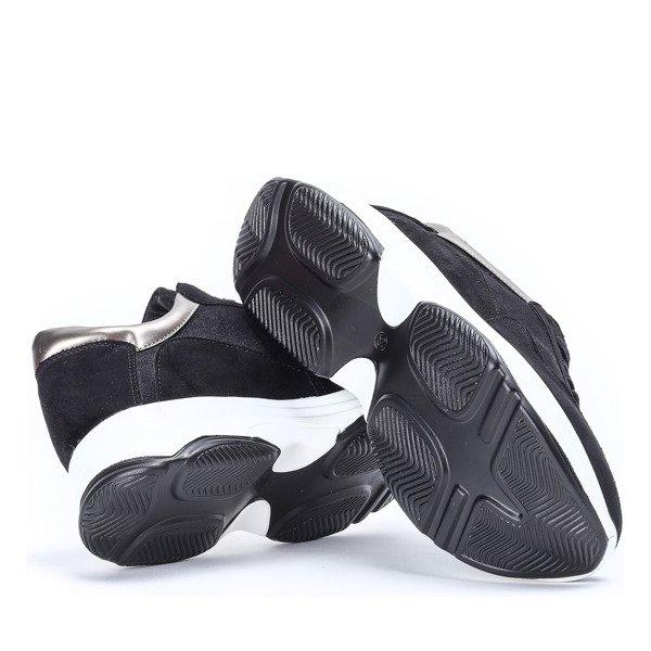 Czarne sportowe buty na wyższej podeszwie Arianna Obuwie