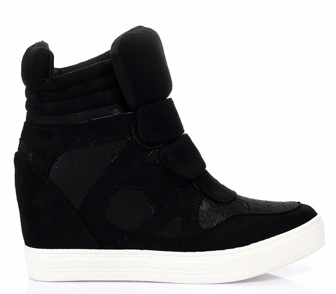 929a2297fac26 Czarne, zamszowe sneakersy na koturnie - Obuwie - Czarny ...