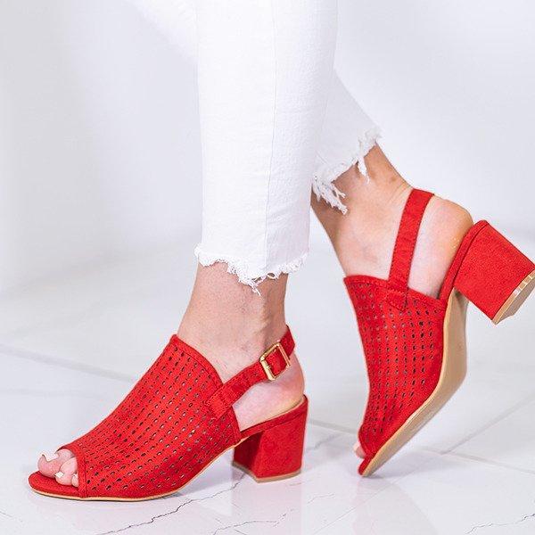 b6f9a76dd579a Czerwone ażurowe sandały na słupku Farrell - Obuwie - Czerwony ...