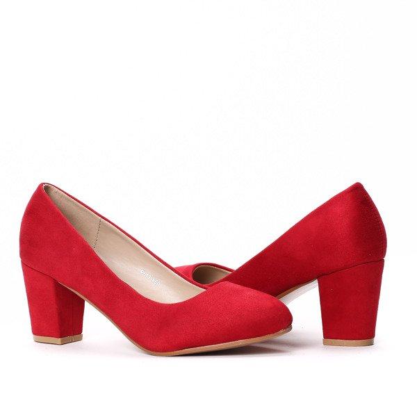 01ee77ed75e46 Czerwone czółenka na niskim obcasie Daria- Obuwie - Czerwony ...