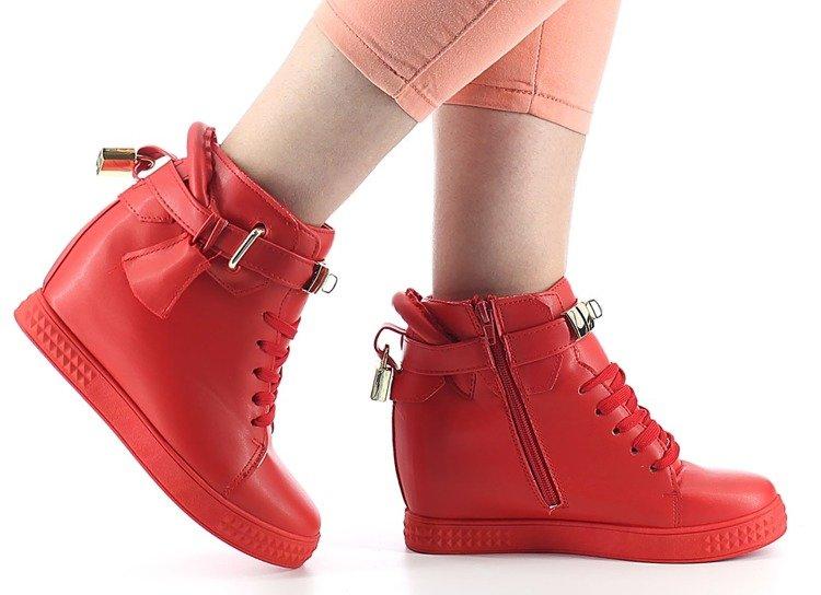 20e21993c46821 Czerwone sneakersy na koturnie - Obuwie - | Royalfashion.pl - sklep ...