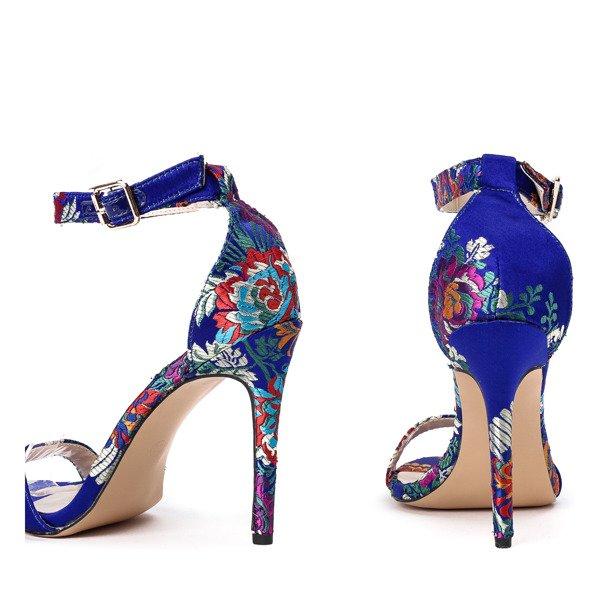 Niebieskie szpilki z motywem kwiatowym Gabriela Obuwie