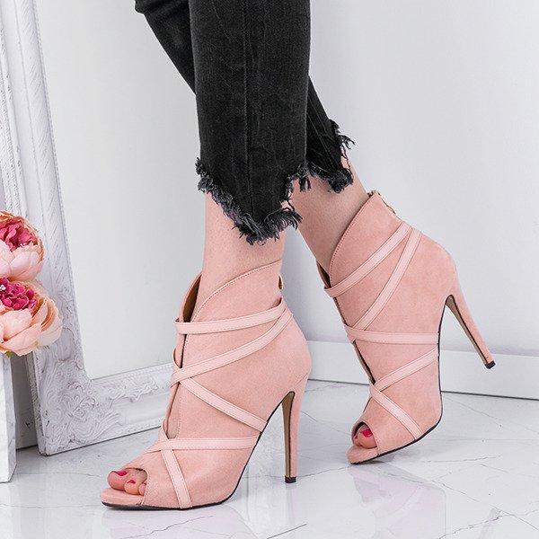 b158fc7f Różowe botki na szpilce Rimy - Obuwie - Różowy | Royalfashion.pl ...