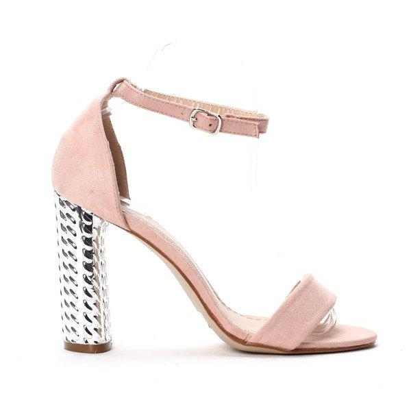 ef7d91110ee61 Różowe sandałki na srebrnym obcasie Aurora - Obuwie - Różowy ...