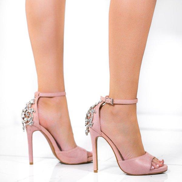 e88619a27827aa Kliknij, aby powiększyć · Różowe sandały na wysokiej szpilce z ozdobnymi  kryształkami ...