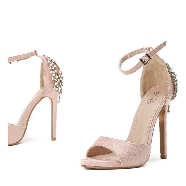 4d79248574bdc9 ... Różowe sandały na wysokiej szpilce z ozdobnymi kryształkami Frozena -  Obuwie Kliknij, aby powiększyć