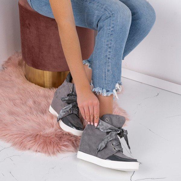 eccbe1e1 Szare sneakersy na krytym koturnie Serenity - Obuwie - Szary ...