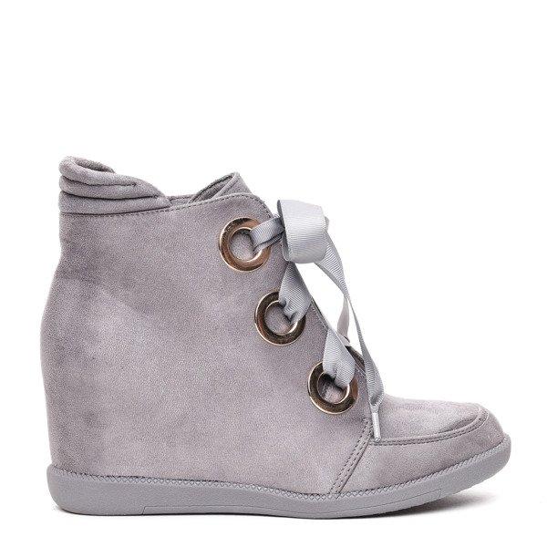 OUTLET Szare sneakersy na krytym koturnie wiązane wstążką