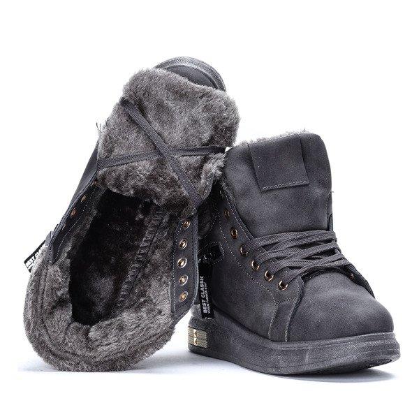 134b8e9cc89b ... Szare sneakersy z futerkiem Sybilla- Obuwie Kliknij