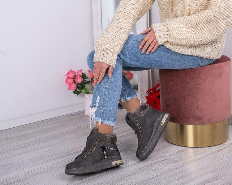 60ccf7813f09 Szare sneakersy z futerkiem Sybilla- Obuwie - Szary
