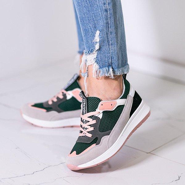 3bda0632cd212 Zielone buty sportowe z kolorowymi wstawkami Martien - Obuwie Kliknij, aby  powiększyć ...