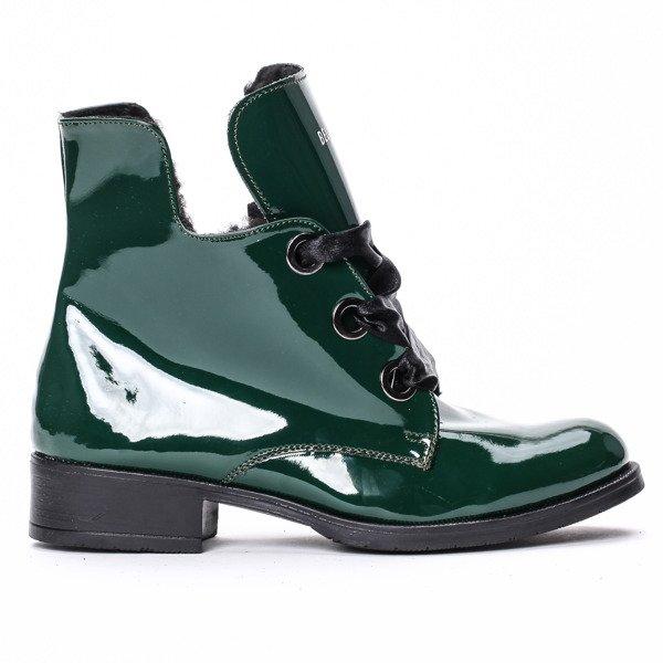 polskie buty damskie botki krótkie lakirowane