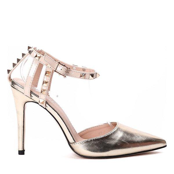da974847 Złote sandały na szpilce- Obuwie - Złoty | Royalfashion.pl - sklep z ...