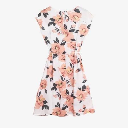 Biała sukienka przed kolano z printem w kwiaty - Odzież
