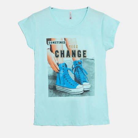Miętowa damska koszulka z nadrukiem - Odzież