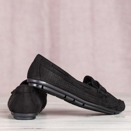 Ażurowe mokasyny w kolorze czarnym Tati - Obuwie