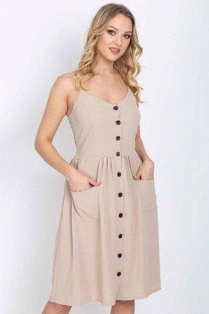 Beżowa sukienka zapinana na guziki - Odzież