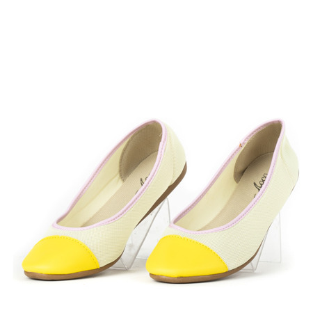 Beżowe baleriny z żółtym noskiem Eloisa - Obuwie