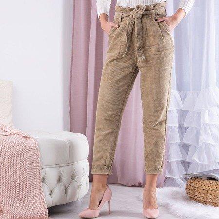 Beżowe damskie spodnie paperbag z wysokim stanem - Spodnie