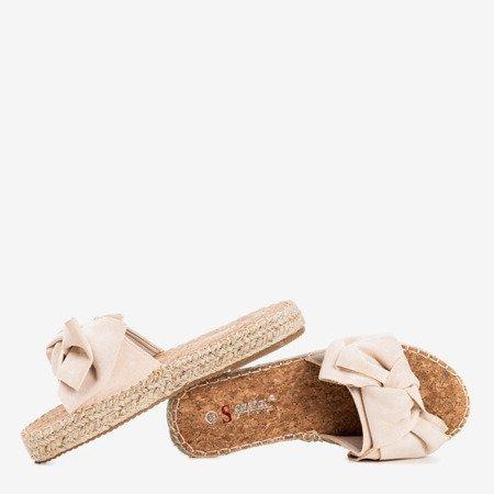Beżowe klapki z kokardką Playa - Obuwie
