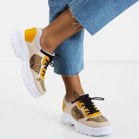 Beżowe sneakersy damskie a'la skóra węża Annadale - Obuwie