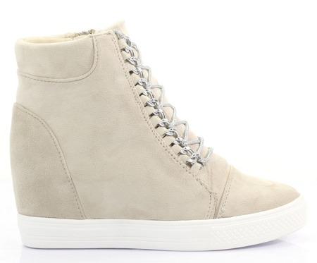Beżowe sneakersy na koturnie - Obuwie
