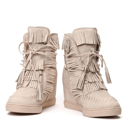 Beżowe sneakersy na krytym koturnie Emerson - Obuwie