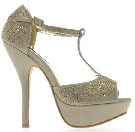 Beżowo-złote sandały na platformie - Obuwie