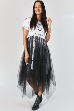 Biała sukienka ze zwiewnym tiulem - Odzież