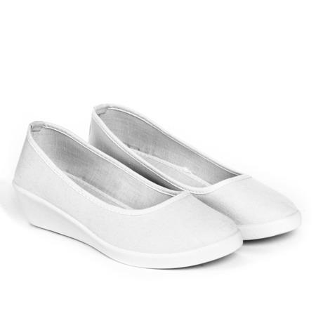 Białe baleriny na koturnie Milaja - Obuwie