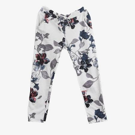 Białe bawełniane spodnie dresowe w kwiaty - Spodnie