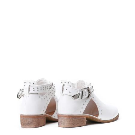 Białe botki z wycięciami Kayla- Obuwie