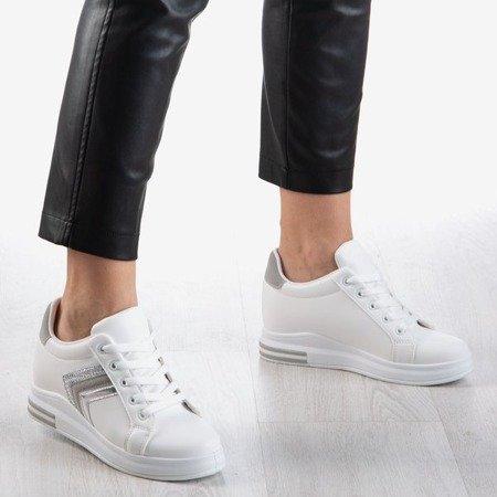 Białe buty sportowe damskie na krytym koturnie Sliomena - Obuwie