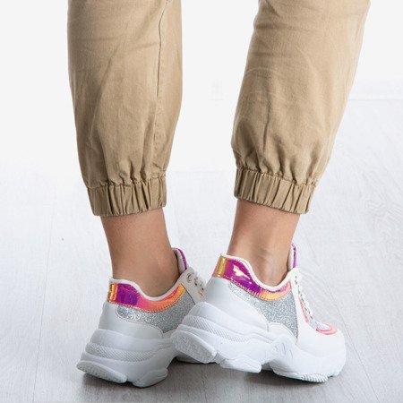 Białe buty sportowe na grubej podeszwie Blinging - Obuwie