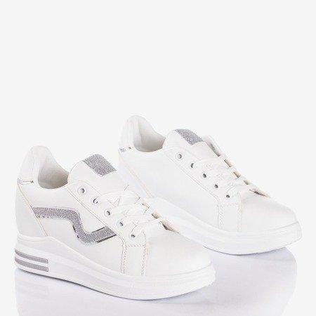 Białe buty sportowe na krytym koturnie ze srebrnymi wstawkami Say It - Obuwie