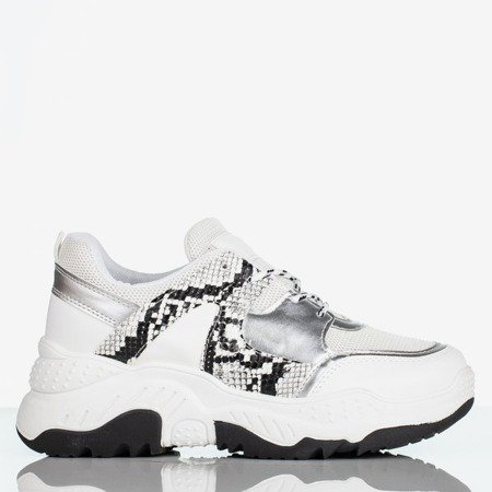 Białe buty sportowe we wzór a'la skóra węża Snekeressa Obuwie