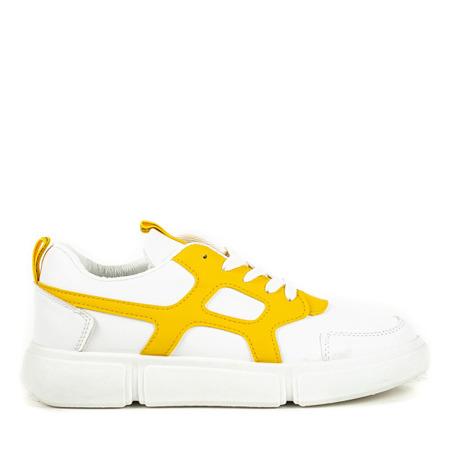Białe buty sportowe z żółtymi wstawkami Polerine - Obuwie