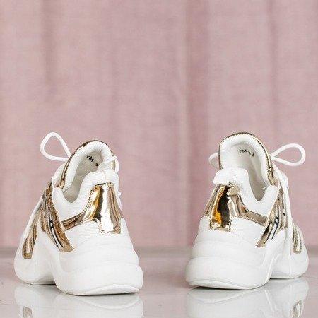 Białe buty sportowe ze złotymi wstawkami Irrmessia - Obuwie