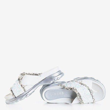 Białe damskie klapki z cekinami Kobi - Obuwie